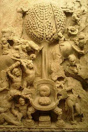 Mara challenges Lord Buddha
