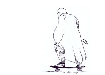 Skateboarding Monk